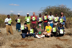 Group photo opportunity after tree planting exercise in Samburu County with Sadhana Forest Kenya